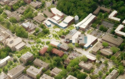Aerial view of the Arts and Architecture area of campus