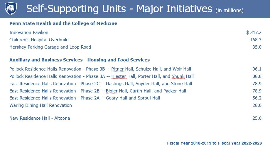Self-Supporting Units Major Initiatives (in millions)