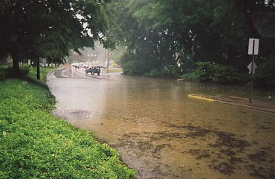 View of a street submerged in stormwater