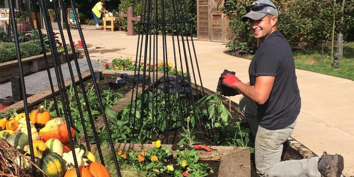 Ted Zeljak working in the Arboretum gardens
