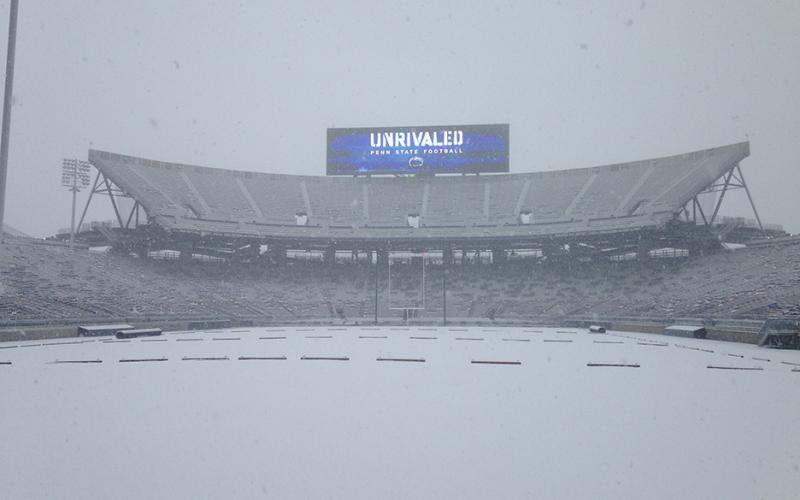 Beaver Stadium in a snowstorm