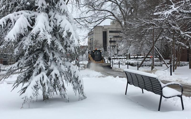 A snowbrush is used to clean sidewalks