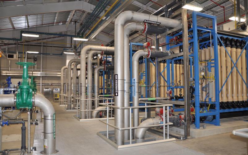Microfiltration area treats bacterial/protozoan contaminants