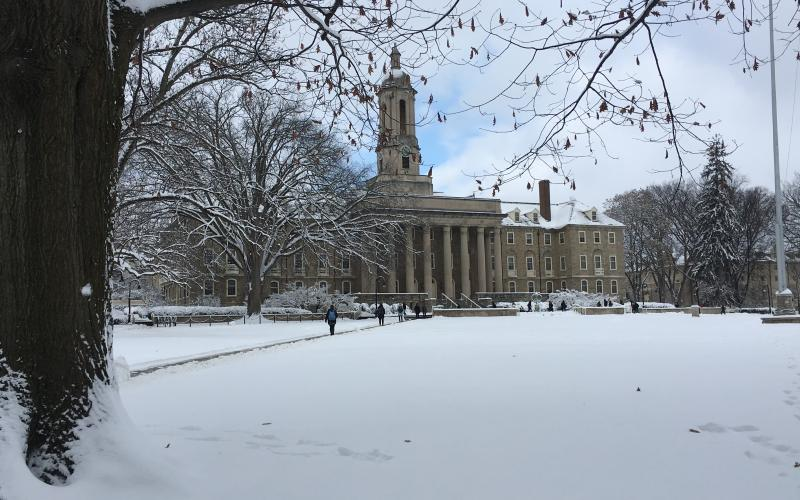 Old Main in the snow