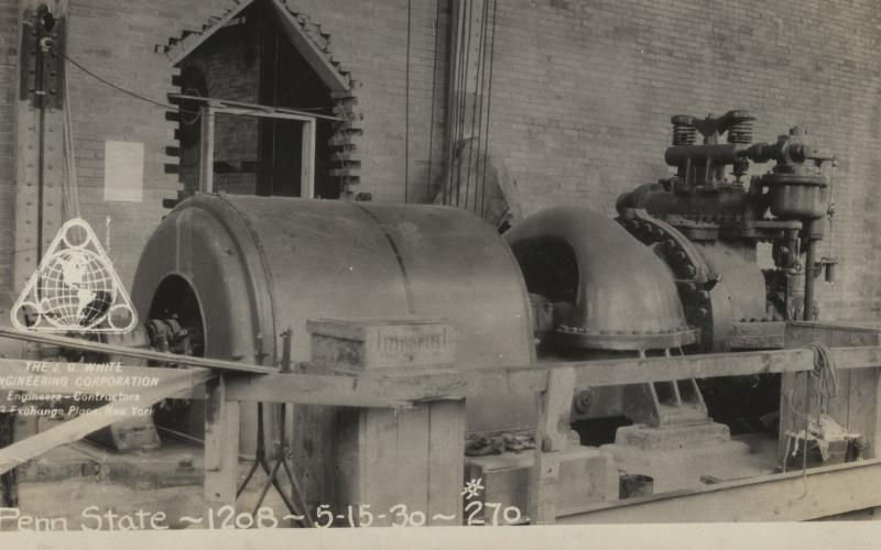 A photo of a 1,250 mW electrict generator (CHP) sitting where T-G #2 sits today circa 1929-1930