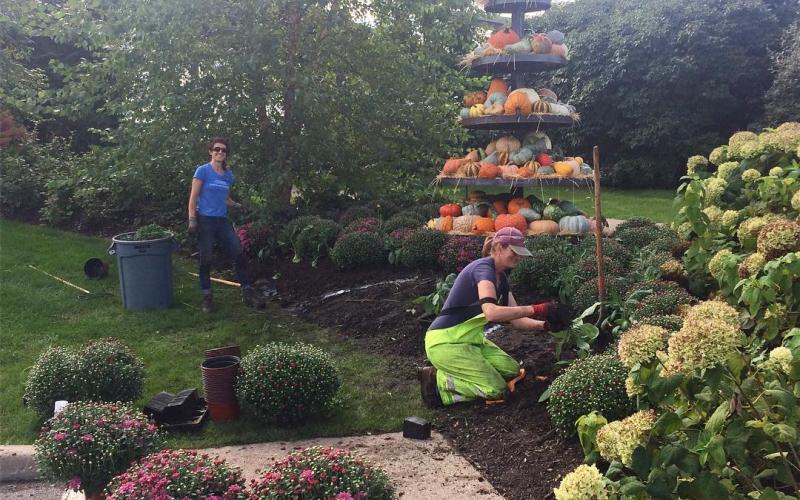 Landscaper and volunteer work on plantings.
