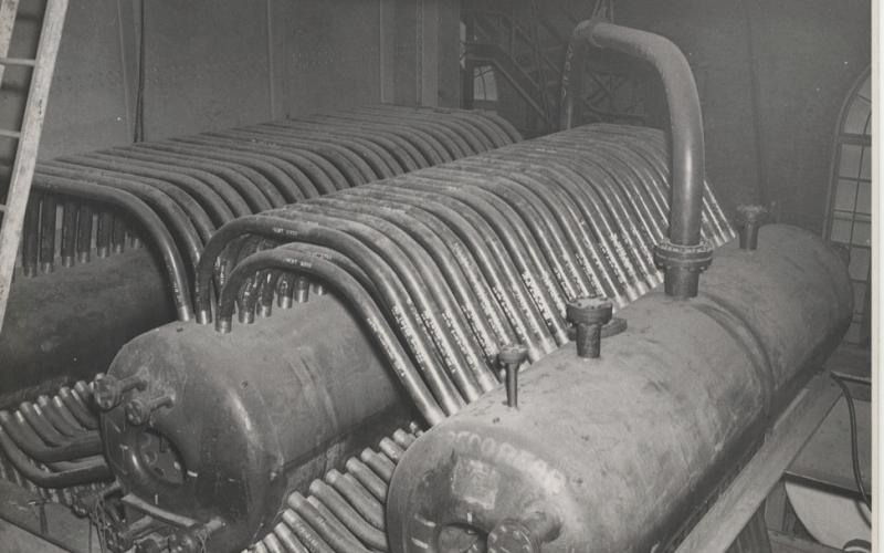 A photo of the boiler 5 steam drums from the 1940s-1970s