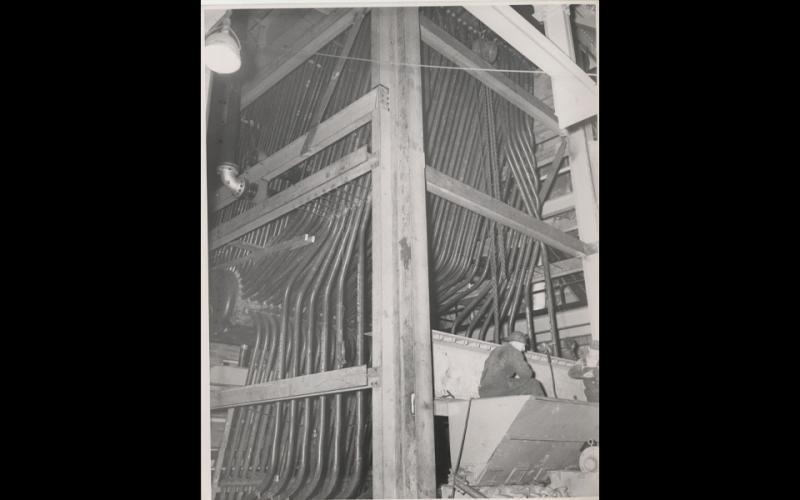 1940s-1970s: Boiler 5; mud drum, furnace wall tubes, coal hopper