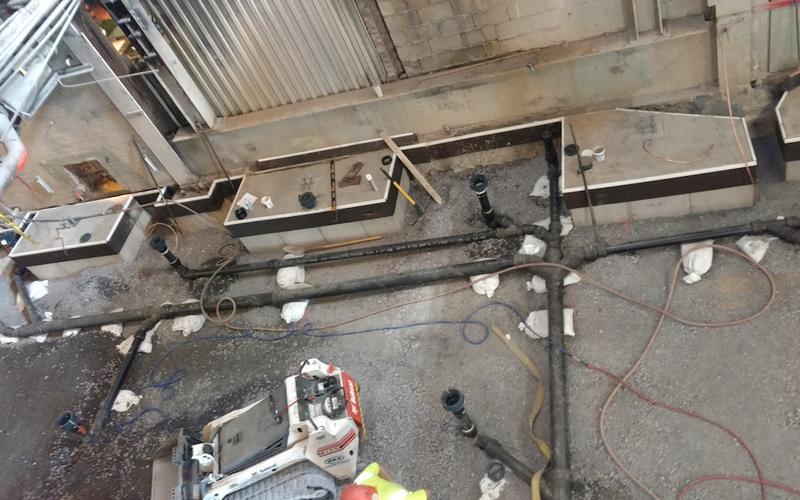 Basement view under boiler