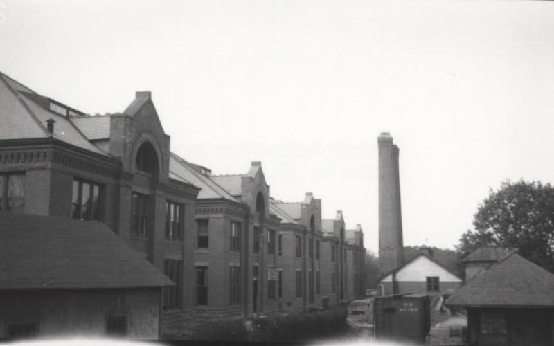 A photo of the engineering buildings on the left circa 1910