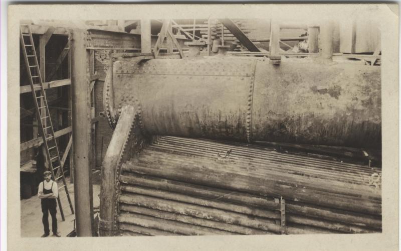 A photo of rebuilding boilers circa 1910
