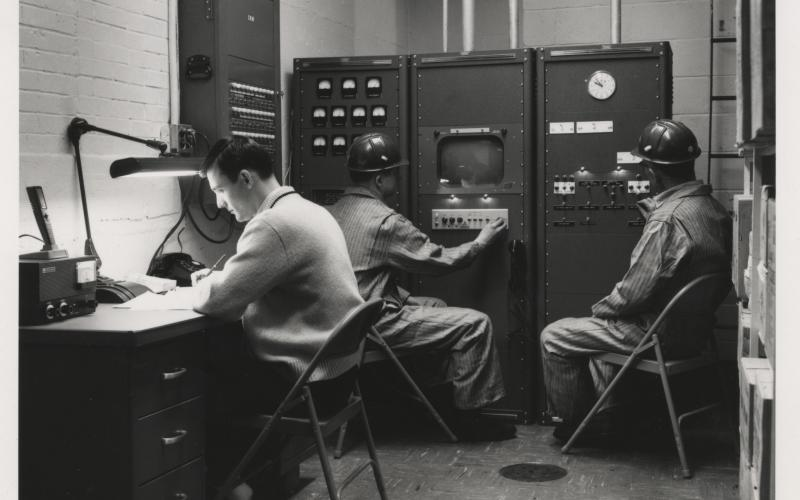 A photo of the control room from the 1940s-1970s