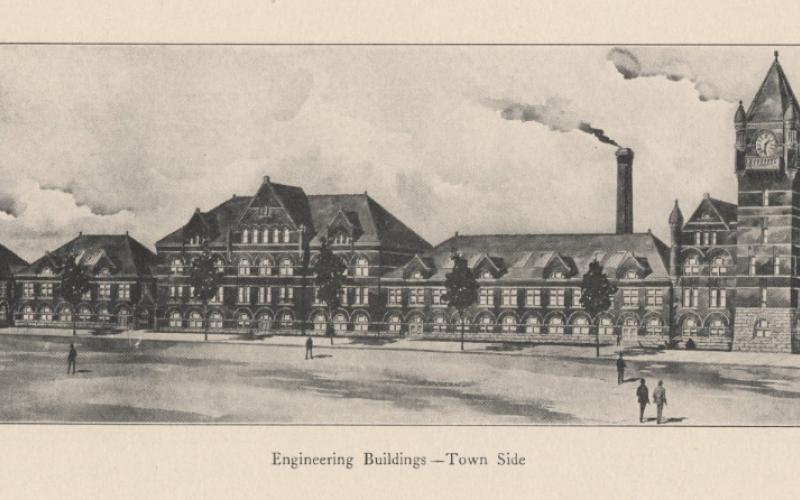 A photo of the engineering buildings circa 1910