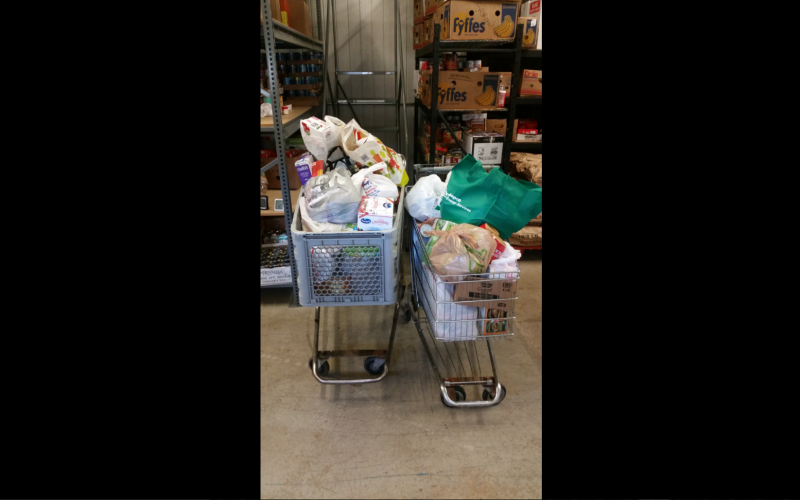 A picture of the food collected for the Fall Food Drive.