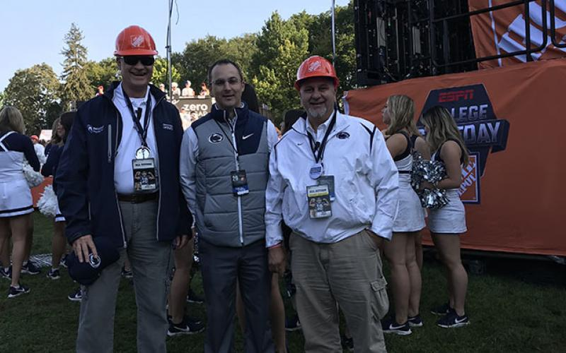 Marv Bevan and Terry Hansel help out with ESPN GameDay.