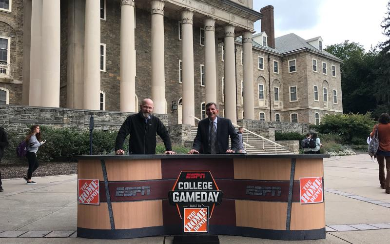 ESPN Game Day desk at Old Main