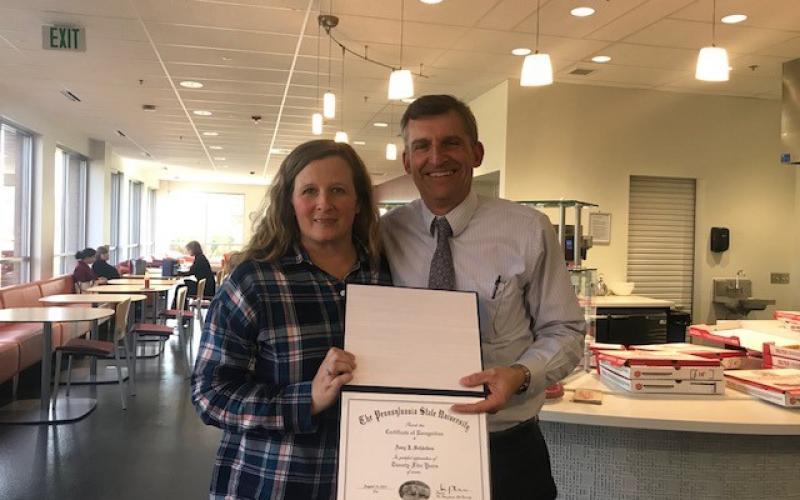 Photo of  Amy Schleiden and Steve Maruszewski at her 25 year award luncheon.