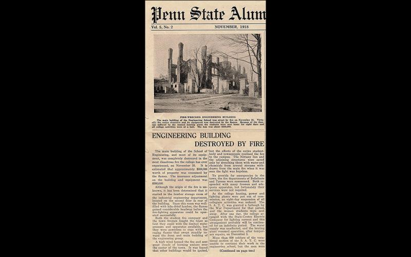 Photo of newspaper article detailing 1918 fire.