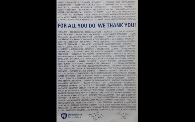 Photo of Poster from Employee Appreciation Day
