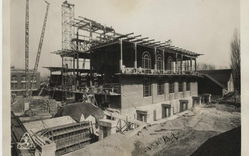 A photo of the exterior of the power plant under construction circa 1929-1930