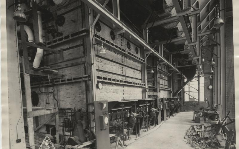 A photo of the original coal-fired, retort stoker boilers in construction circa 1929-1930.