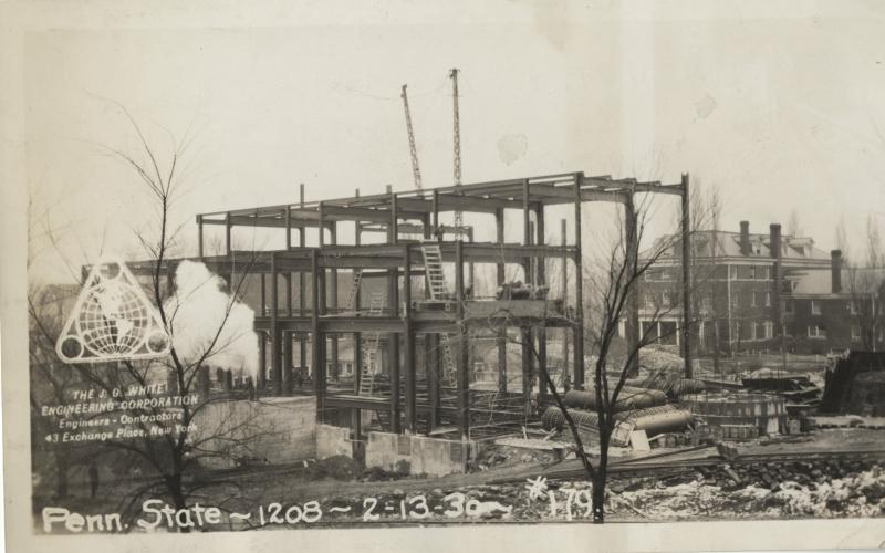 A photo of the power plant under construction circa 1929-1930