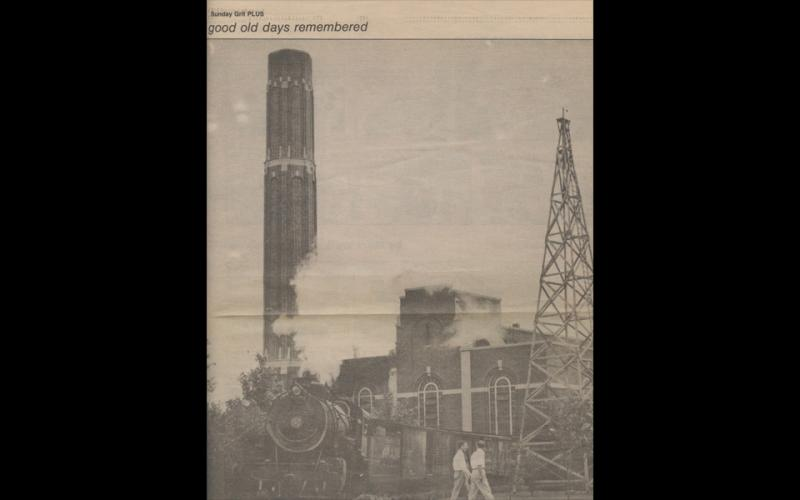 1940s-1970s: Coal delivery with the radio tower in foreground; looking from Walker Building