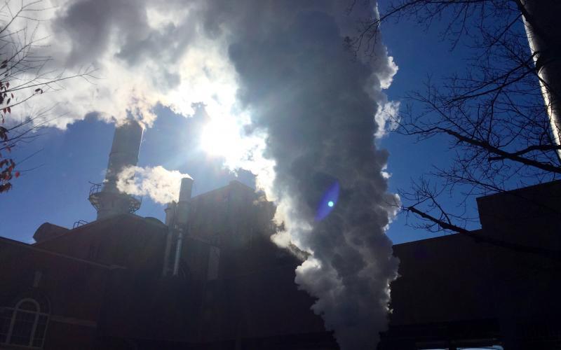 Venting steam.