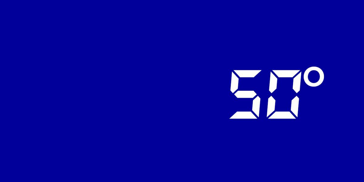 50 degrees on blue background