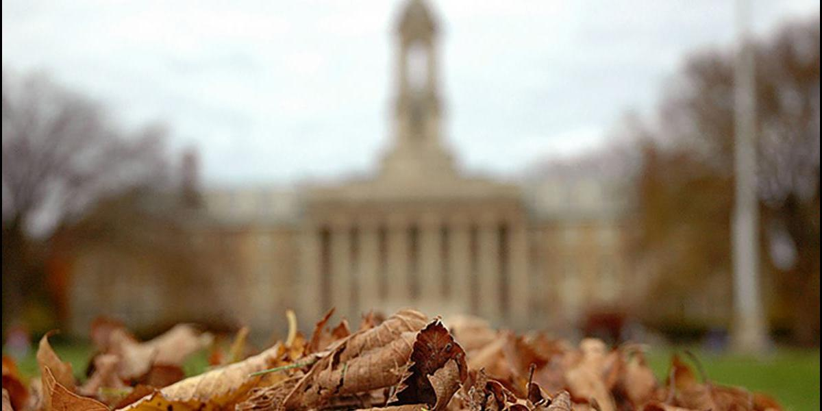 Fall leaves in front of Old Main