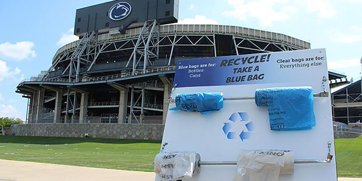 Game day recycling: Blue bags for bottles, cans; clear bags for everything else