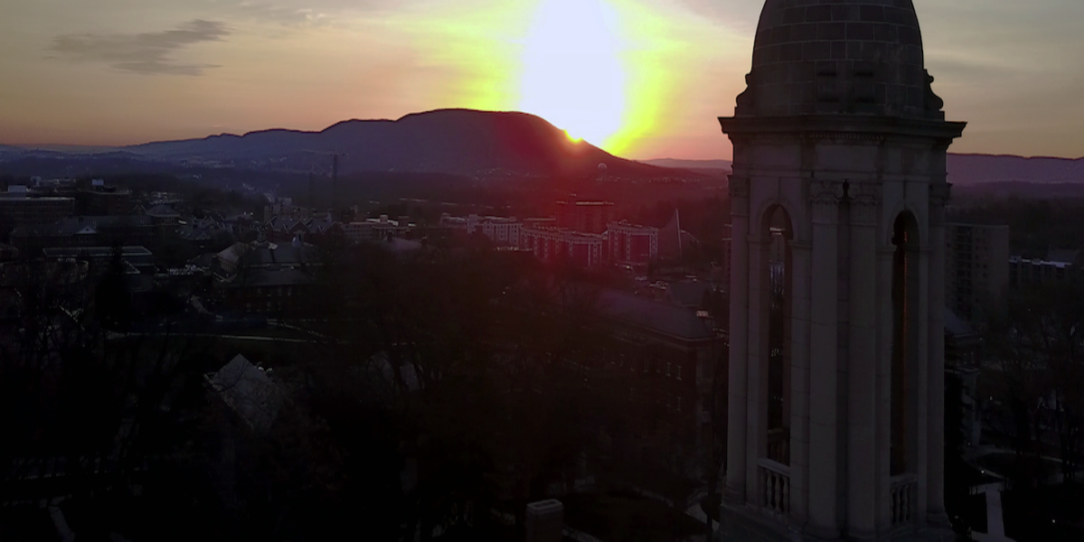 old main bell tower in sunrise